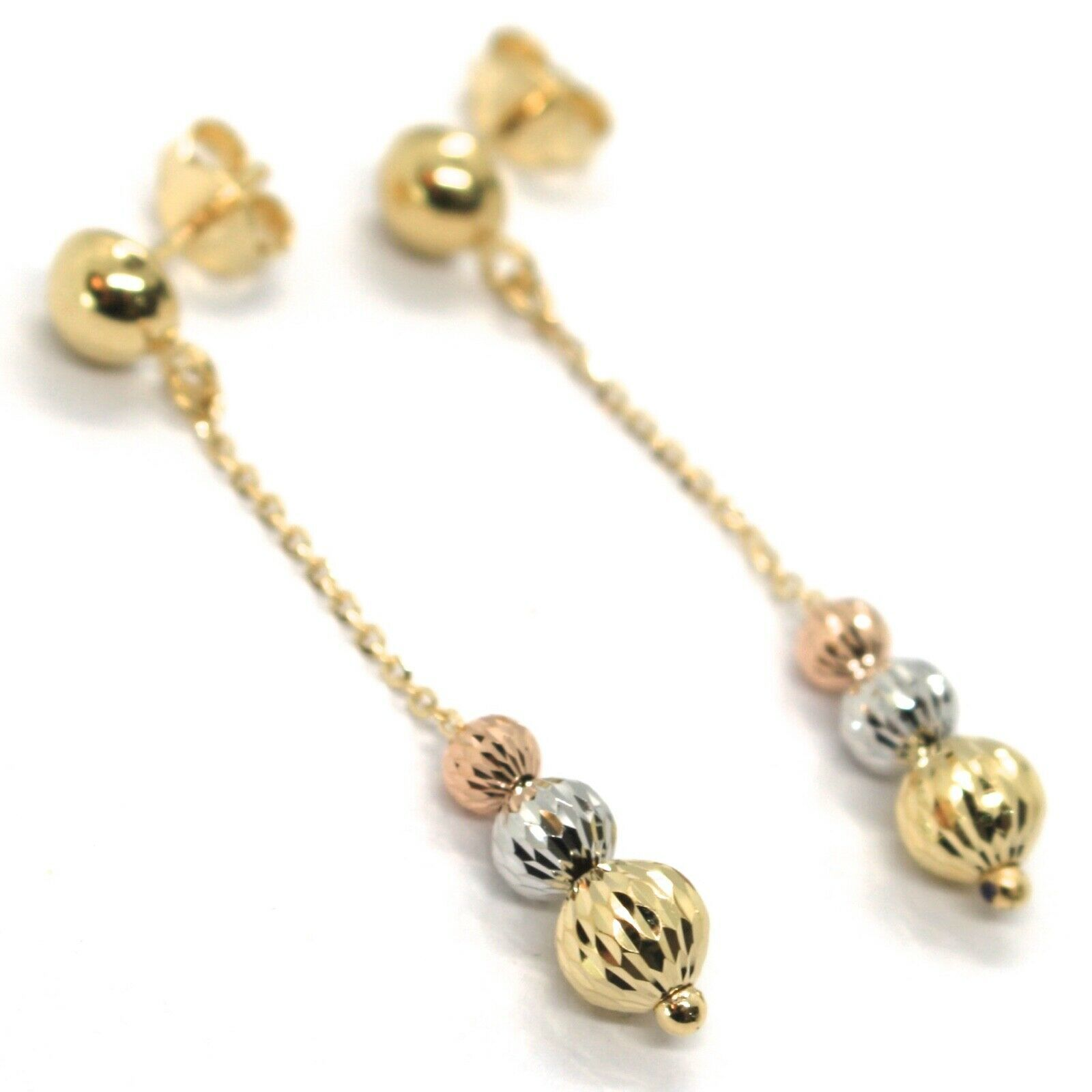 18K YELLOW ROSE & WHITE GOLD PENDANT EARRINGS THREE FACETED WORKED BALLS SPHERES
