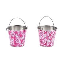 Pink Ribbon Metal Pails  12 Pack - $18.00