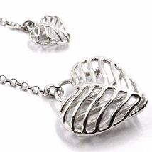 Necklace Silver 925, Double Heart Convex and Perforated Pendant, by Maria Ielpo image 4