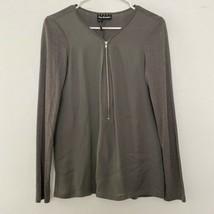 The Kooples XS Silk Blend Half Zip Pullover Long Sleeve Shirt Top - $28.83