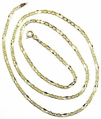 18K YELLOW GOLD CHAIN 2.5 MM, 20 INCHES, ALTERNATE 3 MARINER, 1 OVAL WORKED LINK