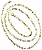 18K YELLOW GOLD CHAIN 2.5 MM, 20 INCHES, ALTERNATE 3 MARINER, 1 OVAL WORKED LINK image 1