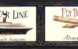 Blue Antique Airplane and Ship Wallpaper Border AW0589B - $12.99