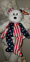 RARE Retired 1999 Ty Spangle Beanie Baby Patriotic Bear With Errors. - $2,500.00
