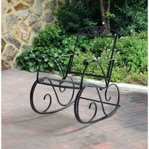 Outdoor Rocking Chair Wrought Iron Porch Patio Furniture Garden Seat Bla... - $2.203,56 MXN