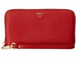 New Fossil Women Sydney Leather Zip Phone Wallet Red - $44.36