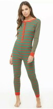 Red & Green Stripe Waffle Thermal Pajamas Romper One Piece PJ Jumpsuit X... - $23.86