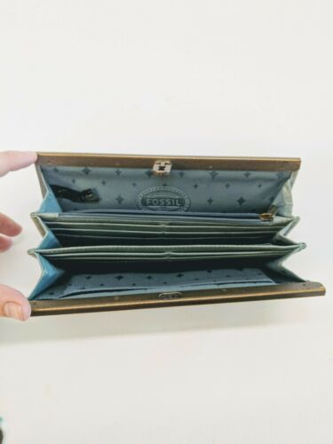 "Vintage Fossil Gray Slate Blue Stamped Leather Clutch Wallet Organizer 8x4.5"" image 5"