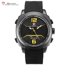 New Design Whitetip Reef Shark Sport Watch Men LED Yellow Analog Date Al... - $222.91 CAD