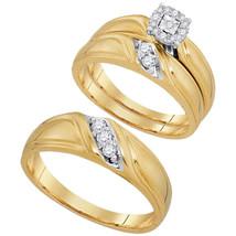 10k Yellow Gold His & Her Round Diamond Matching Bridal Wedding Ring Set - $598.00