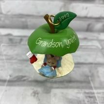 Hallmark GrandSon Mouse in Apple Core Christmas Ornament Ball 1992 No Box - $6.89