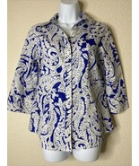 Chico's Womens Size 0 Blue Paisley Button Up Shirt 3/4 Sleeve Non-Iron - $19.80