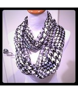 Houndstooth Infinity Scarf Black White Silk Feel - $16.99