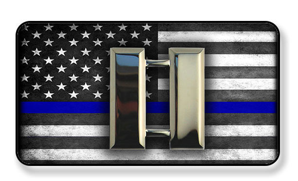Primary image for POLICE CAPTAIN BARS SUBDUED THIN BLUE LINE AMERICAN FLAG MAGNET PACKAGE SET OF 4