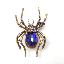 Brooch Spider Bronze Gold Blue Crystal Gothic Cool Unisex Men Sparkle Suit Pin - $8.99