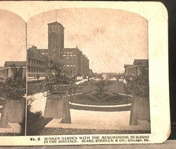 Vintage Stereoscope Card Sears & Roebuck #5 Sunken Gardens Mdse Building... - $4.89
