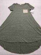 NWT Lularoe XXS 2XS Heathered Sage Green Tan Cream Pocket Carly Dress - $26.99