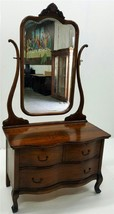 19533 Antique Oak Ladies Princess Dresser with Tall Bevel Glass Mirror - $685.00