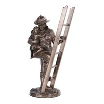 Fireman Rescue Collectible Statue Made of Polyresin - $33.66