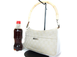 Authentic GUCCI Bamboo GG Pattern Canvas Leather White Shoulder Bag GS11... - $149.00