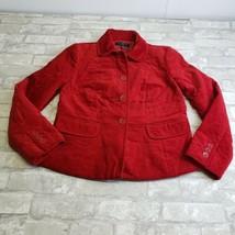 Talbots Petite Quilted Velvet Blazer Jacket Red 2P  - $37.08