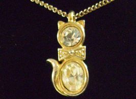 CZ Kitty Cat Pendant Cubic Zirconia Necklace Gold Plated Figural Sparkle Signed image 3