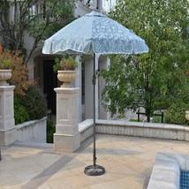 "Outdoor Aluminum Umbrella Round 7"" Garden Yard Parasol Shade Blue Gray F... - $69.88"