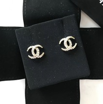 Authentic CHANEL CRESCENT MOON CC logo Gold tone & Crystal Stud Earrings RARE image 1