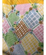 Vtg Blanket Floral Twin Double Full Green Yellow Blue Satin Like Edge 94x66 - $19.34
