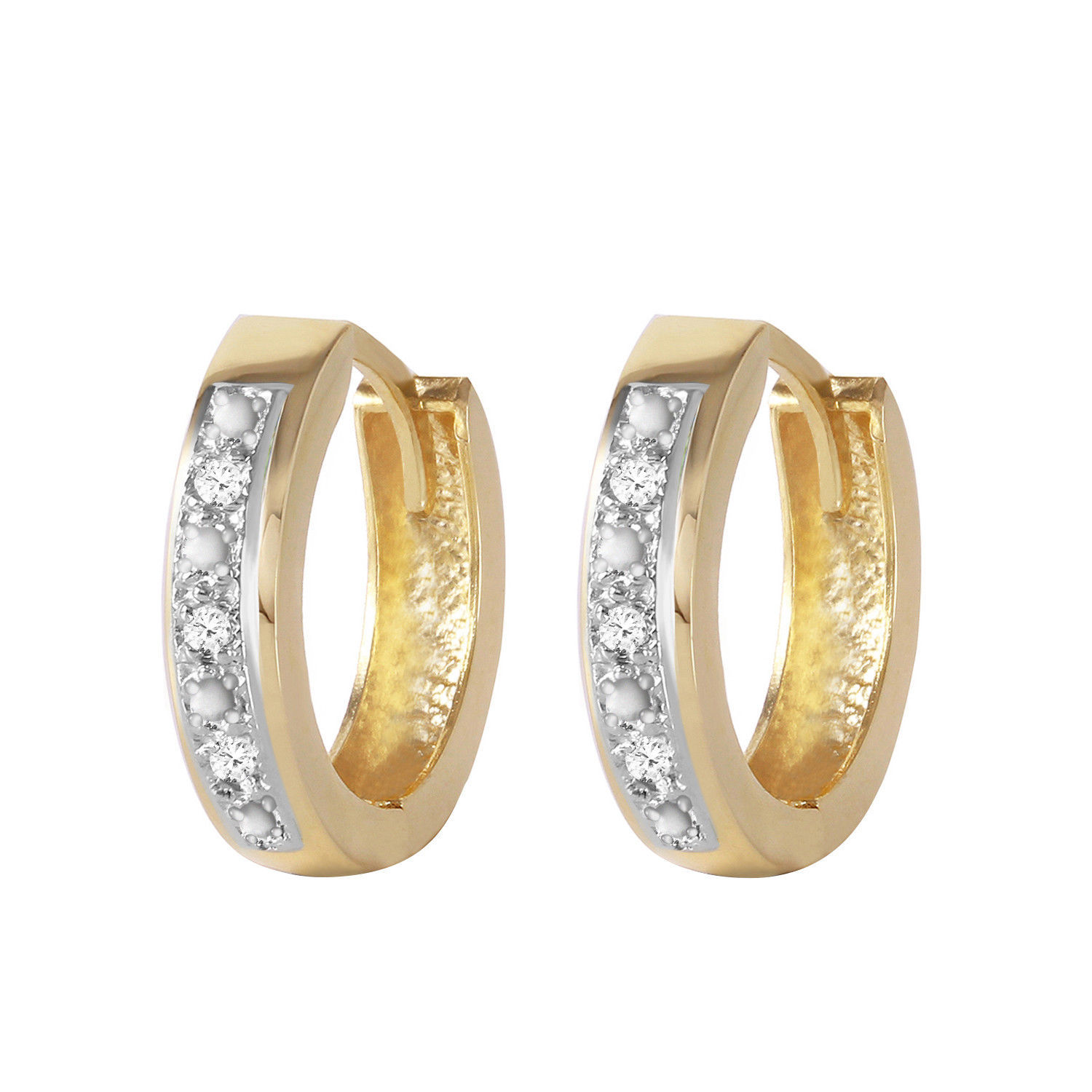 Primary image for 0.04 Carat 14K Solid Gold Hoop Huggie Earrings Diamond