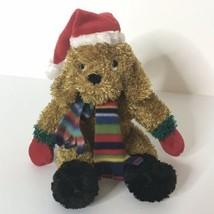 "Russ Puppy Dog Plush Stuffed Animal Santa Hat Striped Scarf 7"" Tall Sitting - $27.72"