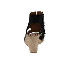 Franco Sarto Leather Cut-out Espadrille Wedges Nola Black 6M NEW A288518 image 2