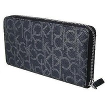 CALVIN KLEIN CK LEATHER ORGANIZER COIN ZIP AROUND RFID WALLET PURSE BLACK 79468