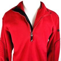 IZOD PerformX Jacket Mens Size M Medium Red Fleece Style Elbow Pads 1/2 Zip - $28.66