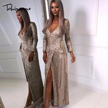 Tobinoone Sequin Maxi Dress Women Sexy High Split Long Dress 2018 Solid ... - $53.35