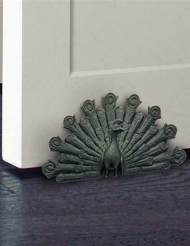 Art Noveau Style Cast Iron Peacock Door Stop