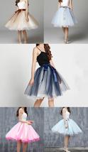 Knee Length Tutu Tulle Skirt Women Ruffle 6 Layered Knee Tulle Skirt A Line  image 1