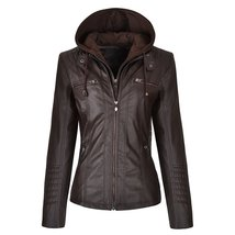 Women Biker Detachable Zipper Hoodie Slim Fit Motorcycle Faux Leather Jacket image 3