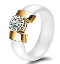 Trendy Ceramic Stainless Steel Prong 1ct Cubic Zirconia Solitaire  Wedding Ring image 3