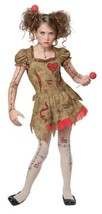 Voodoo Dolly Halloween Costume Tween  L 10 - 12 Bonus Clip on Safety Light - $49.49