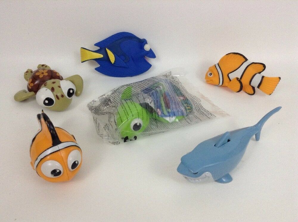 "Finding Nemo Large Water Toy Figures Lot 6pc Disney 5"" Dory Bruce Marlin Squirt"