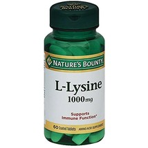 L-Lysine 1000 Mg Pills for Herpes Supplement Benefits 60 Tablets Nature'... - $13.57