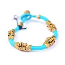 Tribal Dhokra Bracelet Fashion Style Bangle Jewelry Aqua - $28.00