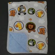 Lambs & Ivy Baby Blanket Lovey Lion Giraffe Zebra Clouds Gray Blue Fleece Animal - $34.60