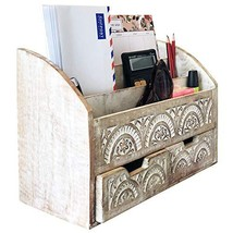 Rustic Wood Desk Organizer Mail Sorter 3 Compartment 2 Drawer White Hand... - $67.57