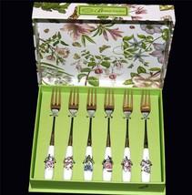 6 Portmeirion Botanic Garden Porcelain Handles Six Designs Pastry Tea Forks NIB - $33.99