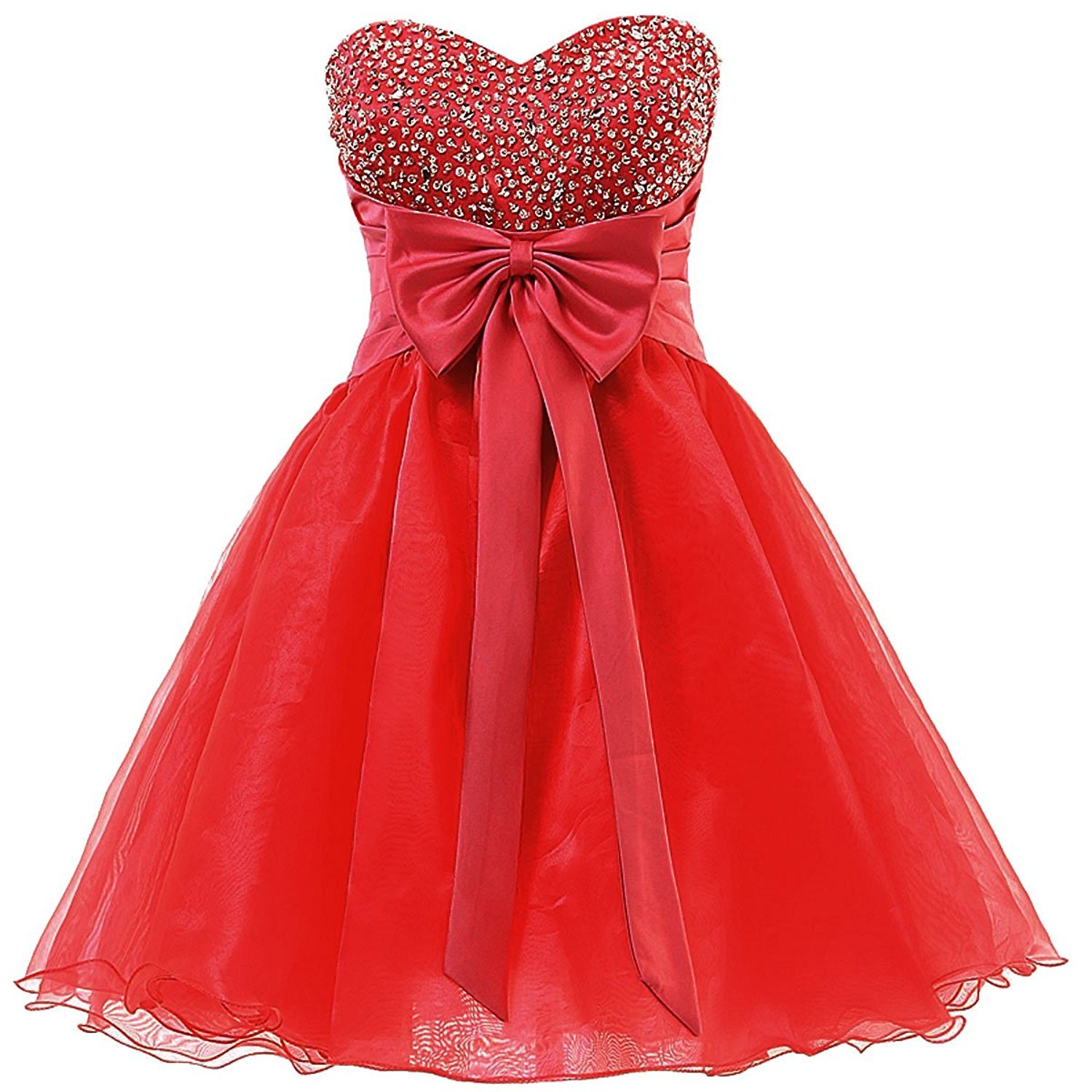 Short Beaded Homecoming Dress Sweetheart Organza Prom Patry Dress wirth Bow 2018 - $115.00