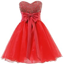 Short Beaded Homecoming Dress Sweetheart Organza Prom Patry Dress wirth ... - $115.00