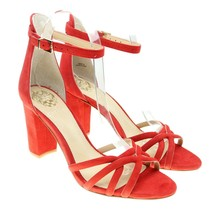 VINCE CAMUTO Catelia Sz 10 RED Suede Leather Strappy Block Heel Shoes - $35.63
