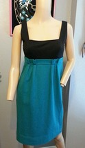 Diane Von Furstenberg Rosario Black Teal Herringbone Wool Blend Dress S 4 - $75.99